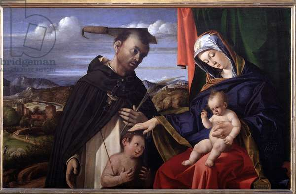 Madonna and Child with St Peter of Verona (Madonna and Child with St Peter Martyr) (or Holy Conversation) The saint has a knife in his skull and holds the palm of martyrdom in his hand - Painting by Lorenzo Lotto (1480-1556) 1503 Dim 87x55 cm Naples, Museo Nazionale di Capodimonte