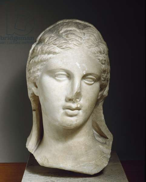 Veiled female head , the head probably belongs to a funerary statue , from Taranto