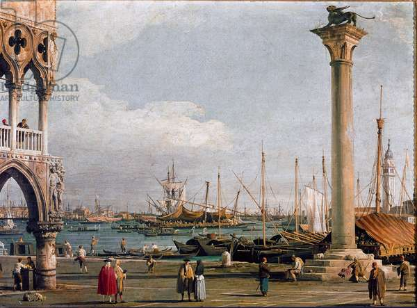View of the Bacino di San Marco (Basin of St. Mark) and the Church of San Giorgio Maggiore from the Piazzetta to Venice Painting of Canaletto (Giovanni Antonio Canal il) (1697-1768) 1726-1728 Dim 47x63 cm Private collection
