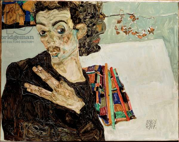 Self-portrait with fingers apart. Painting by Egon Schiele (1890-1918), 1911. Oil on canvas. Sun: 27,5x34 Vienne, Historisches Museum of the City