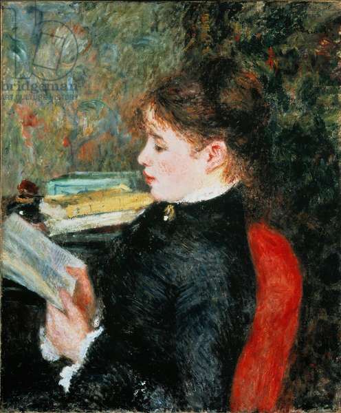 The reader (Woman who reads). Painting by Pierre Auguste Renoir (Pierre-Auguste, 1841-1919), 1877. Oil on canvas 63x53cm. Private collection.