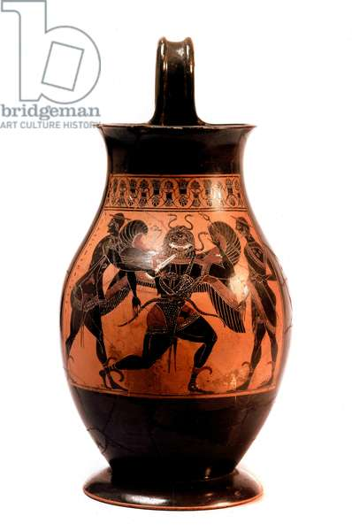 Greek Art: Persee cutting the head of the Meduse. Amphora has black figures of the painter Amisis. 540 BC. Dim. 26 cm London, British museum