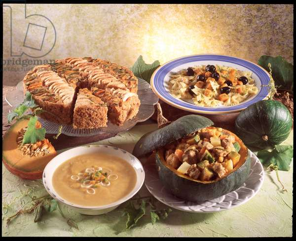 Food: still life: italian menu with pumpkin, pumpkin soup, veal stew, farfalle with pumpkin sauce and pumpkin and apple pie