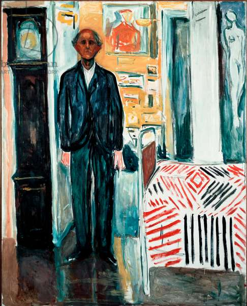 Between the Bed and the Clock Painting by Edvard Munch (1863-1944) 1940-1942 Dim. 149,5x120 cm Oslo, Munch-Museet