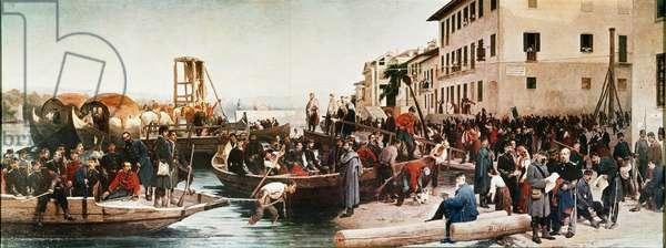 """Risorgimento : """"""""Le debarquement des chasseurs alpins a Sesto Calende en 1848"""""""" Peinture anonyme. 1865 Turin, Museo Nazionale del Risorgimento ©Luisa ricciarini/leemage"""
