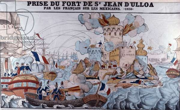 Pastry War: invasion of Mexico by French forces on 27 November 1838, Battle of Veracruz (Epinal print)