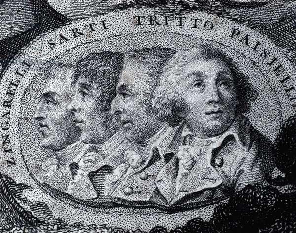 Portrait of Italian opera composers Niccolo Antonio Zingarelli (1752-1837) Giuseppe Sarti (1729-1802) Giacomo Tritto (1733-1824) and Giovanni Paisiello (or Paesieillo or Paesieixo) (1740-1816). Engraving. Private collection