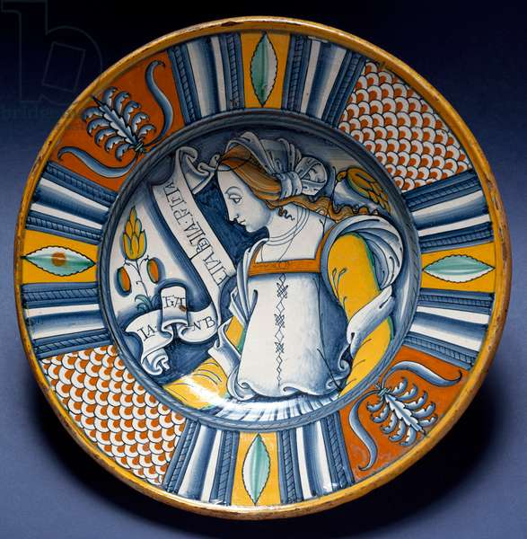 Portrait of a young lady Ceramic plate produced in Deruta, Italy. 1520 around Florence, Museo Nazionale del Bargello - Portrait of a young lady. Ceramic plate from Deruta, Italy. ca.1520. National Museum of Bargello, Florence, Italy