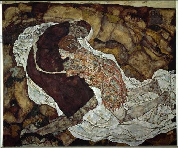 Woman and death. Painting by Egon Schiele (1890-1918), 1915. Oil on canvas. Dim: 150,5x180cm. Vienna, Oesterreichische Galerie im Belvedere