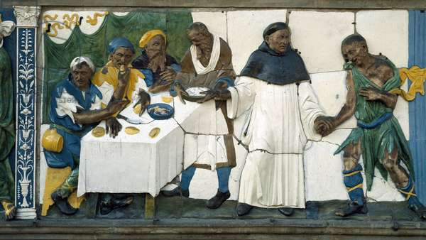 Detail of the poor receiving food, 1526-28 (polychrome terracotta)