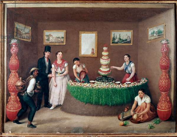 Chufa horchata sellers (orxata de xufa or orxata de xufla) drink from the region of Valencia, Spain (Seller of Horchata, traditional beverage from Valencia, Spain) Painting by Augustin Arriete (19th century) Mexico City, historical national museum, Chateau Chapultepec