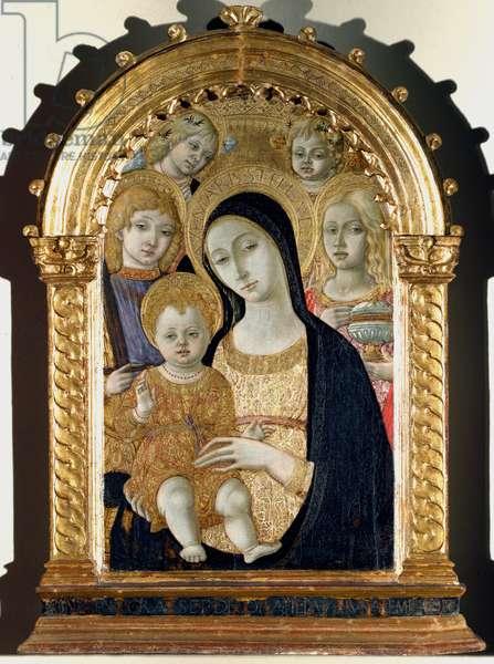 Virgin with Jesus child, Saint Michael, Saint Mary Magdalene Painting on wood by Matteo di Giovanni di Bartolo (1428 circa-1495) Dim 90x70 cm Siena, Pinacoteca Nazionale