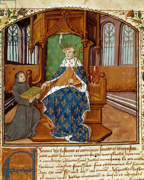 """The columnist writer Enguerrand de Monstrelet (1400-1453) donates his book to King Charles VII (1403-1467) Miniature from """"Chronicles d'Enguerrand de Monstrelet"""" 1465 Reims, municipal library"""