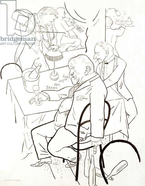 Emigrants in Berlin - Drawing by George Grosz (1893-1959), Paris, private collection