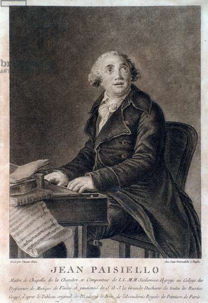 Portrait of Italian composer Giovanni Paisiello (1740-1816). Engraving. Milan, biblioteca del conservatorio