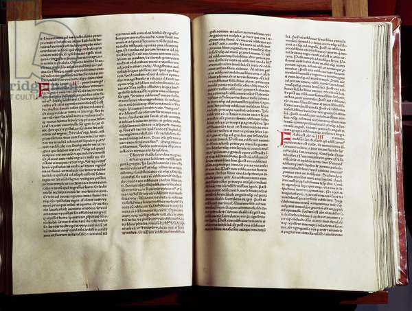 One of the first printed books: bible made in the printing house of typographers Johann Fust and Peter Schoeffer a Mainz, 1462 Modene, Biblioteca Estense