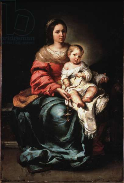Virgin of the Rosary. Painting by Bartolome Esteban Murillo (1618-1682), oil on canvas, ca 1650, 165x109 cm. Firenze, Palazzo Pitti, Galleria Palatina