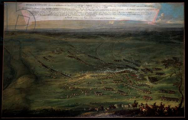 Seven Years' War: Prussian infantry at the Battle of Kolin, 18/06/1757 - The Battle of Kolin on 18 June 1757 between Austrians under Count von Daun and Prussians under Frederick the Great during the Seven Years War - Painting by August Querfurt (1697-1761) Wien Museum Karlsplatz Austria