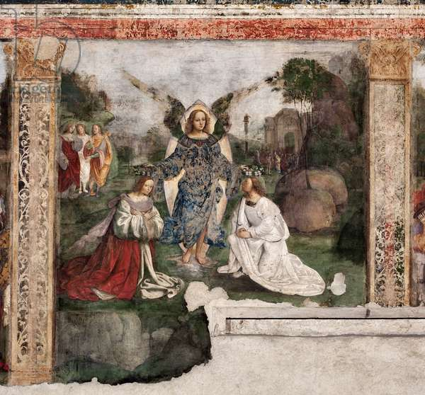 Life of St. Cecilia: the saint and St Valerian crowned by an angel (Fresco, 1506)