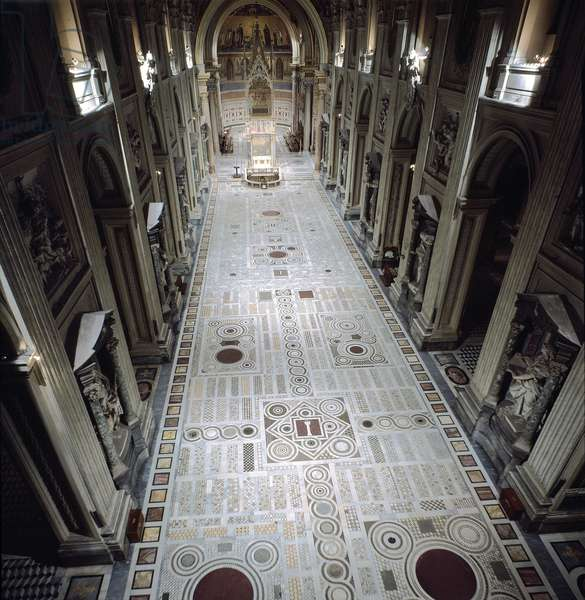 View of the central nave of St. John's Basilica (San Giovanni in Laterano), 17th century. Rome