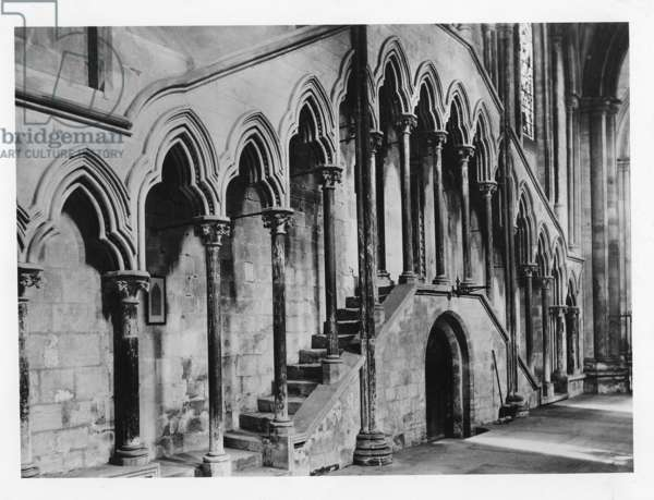 Arches in Beverley Minster, ca.1900 (b/w photo)
