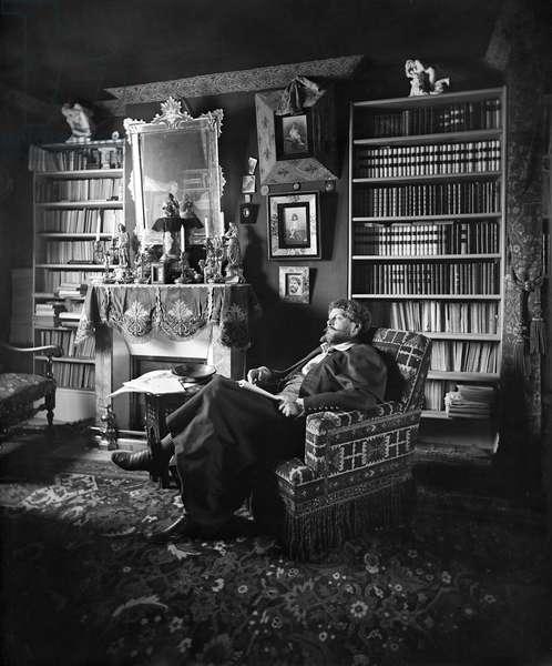 Portrait of Jean Richepin (1849-1926) late 19th century (b/w photo)