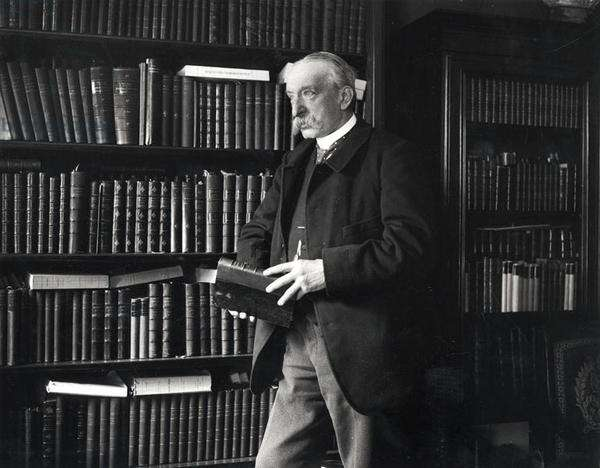 Albert Sorel (1842-1906) in his library (b/w photo)
