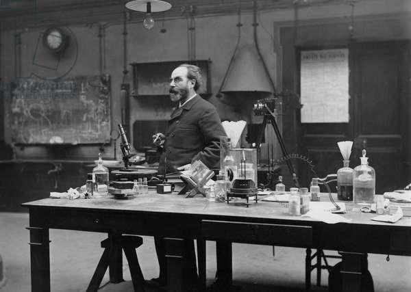 Gabriel Lippmann in his laboratory, c.1890-1900 (b/w photo)