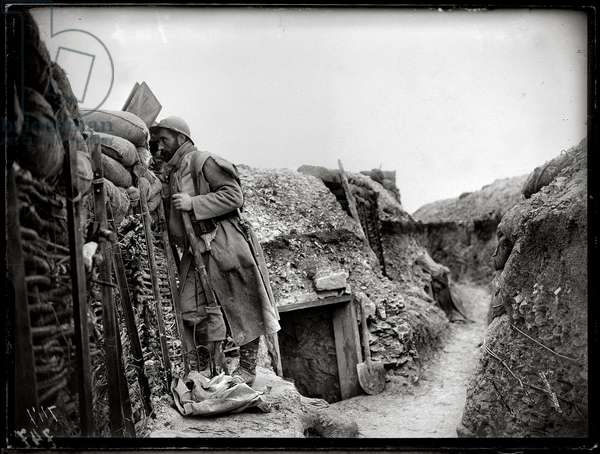 Sentry in a front line trench in the Champagne region, 1915-16 (b/w photo)