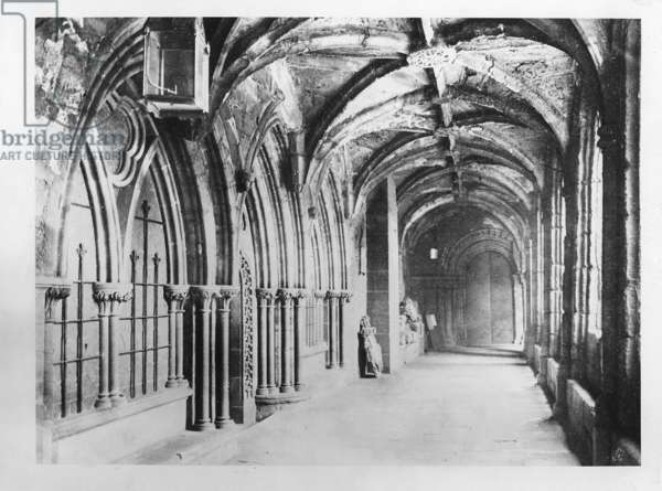 Chester cathedral's cloister, ca.1900 (b/w photo)