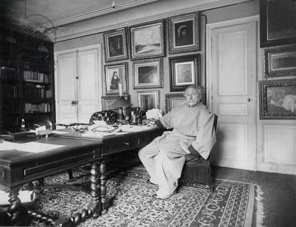 Alexandre Dumas, fils, in his study (b/w photo)