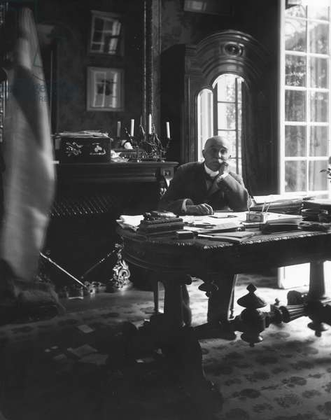 Portrait of Georges Clemenceau (1841-1929) in his study (b/w photo)