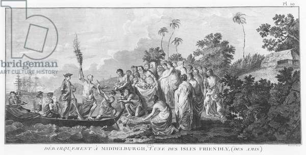 James Cook landing in Middleburgh, Tonga in 1778 (engraving)