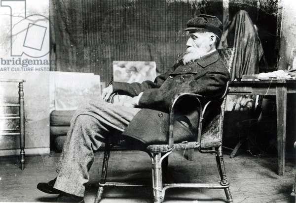 Auguste Renoir (1841-1919) in his Studio (b/w photo)