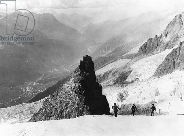 Mont Blanc: Great rock-Mules and Chamonix Valley (b/w Photo before 1912)