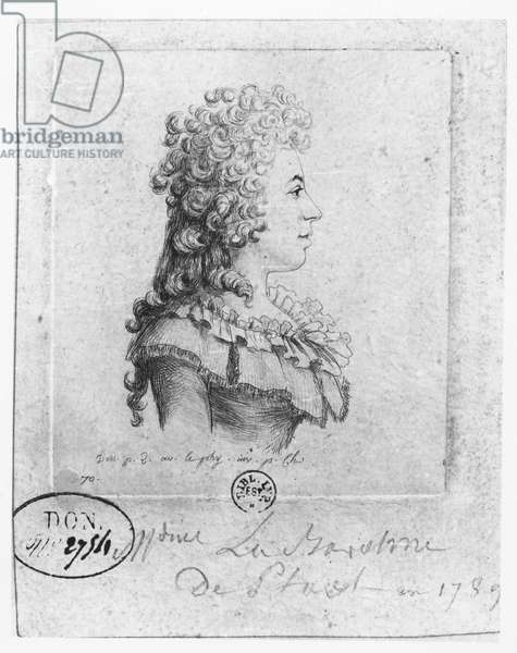 Madame de Stael, 1789 (pen & ink on paper)