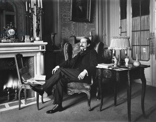 Portrait of Edmond Rostand (1868-1918) (b/w photo)