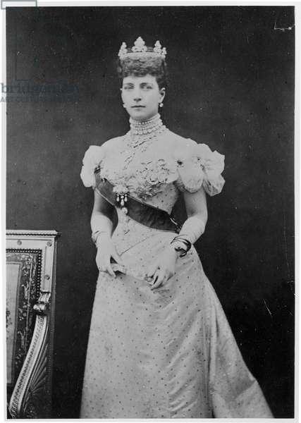 Portrait of Princess Alexandra (1844-1925) of Denmark (b/w photo)