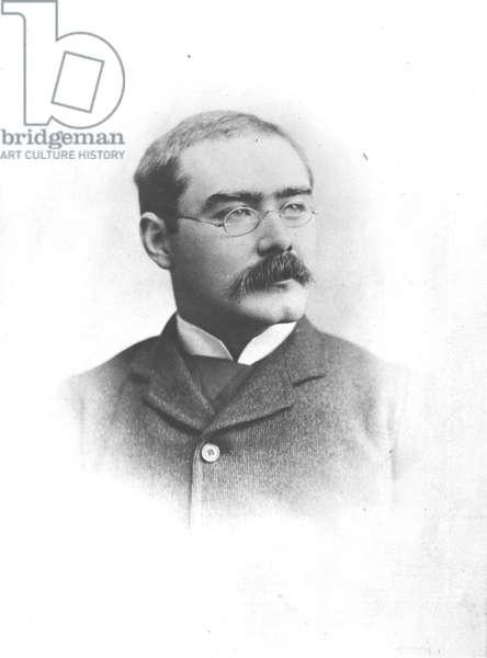 Portrait of Rudyard Kipling (1865-1936) (b/w photo)
