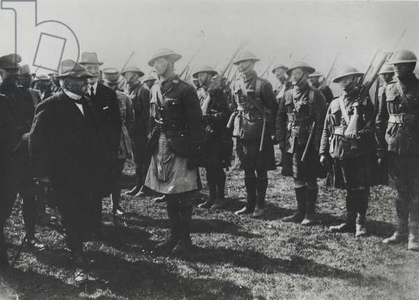 Georges Clemenceau with Scottish soldiers on the British front, 1917 (b/w photo)