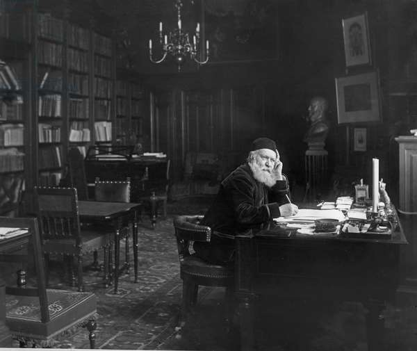 Charles Gounod, French composer, in his study (b/w photo)
