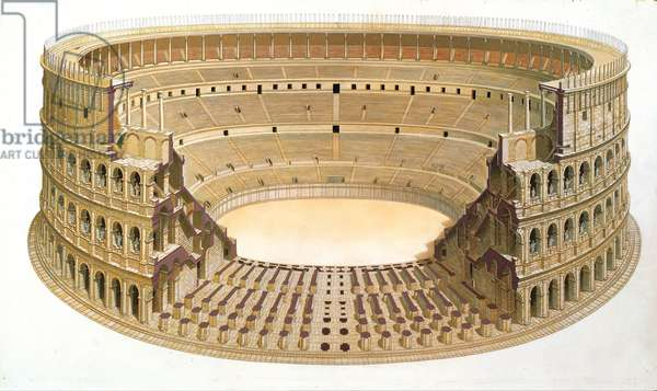 Reconstruction of the Colosseum, Rome (w/c on paper)