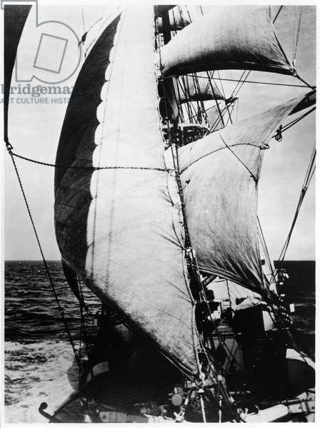 The Ship 'Le Pourquoi Pas?' of Jean Charcot (1867-1936) during his expedition to Greenland, August 1934 (b/w photo)