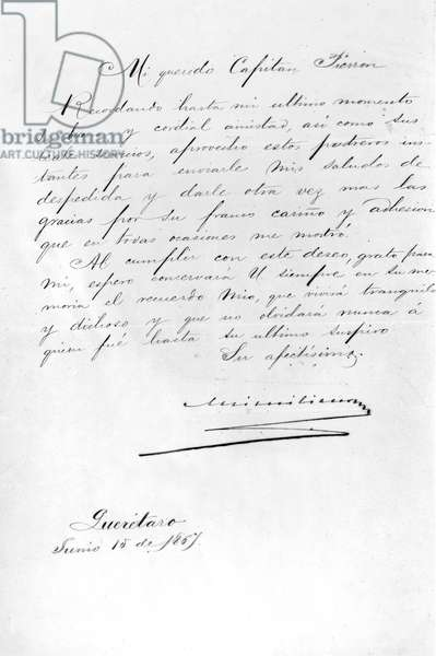 Letter from Emperor Maximilian of Mexico to his secretary Pierron before he was executed by firing squad, 1867 (pen & ink on paper)
