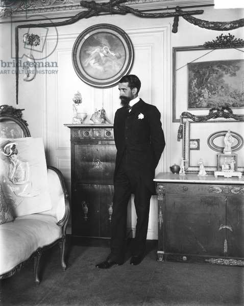 Portrait of Paul Helleu (1859-1927) (b/w photo)