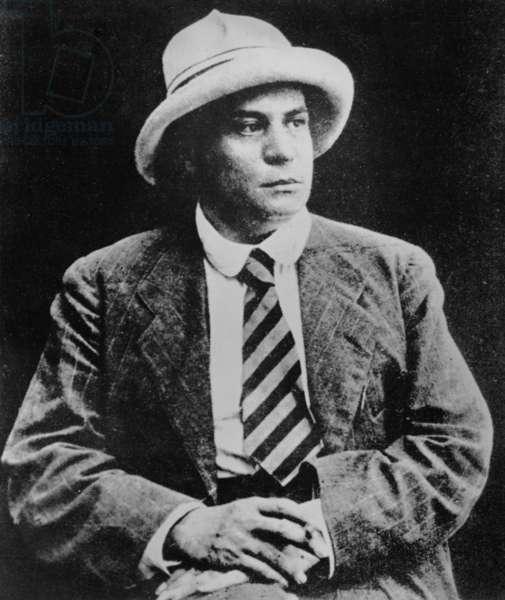 Portrait of French writer Valery Larbaud, 1915 (b/w photo)