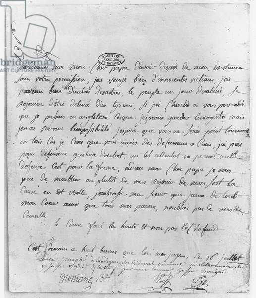 Farewell letter from Charlotte Corday to her father (litho)