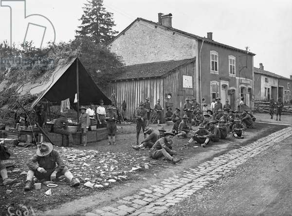 American quarters in a French village, 1917-18 (b/w photo)