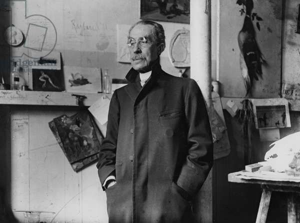 Portrait of French sculptor Emmanuel Fremiet (b/w photo)