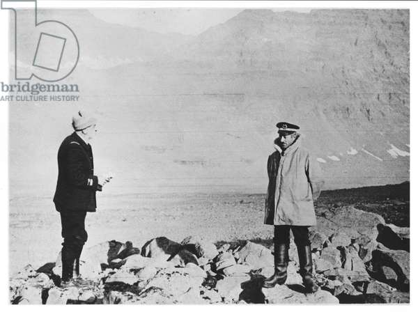 Doctor Jean Charcot (1867-1936) and Commandant Chatton landing at Blosseville, c.1936 (b/w photo)